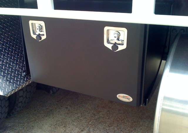 black powder coated steel truck tool box